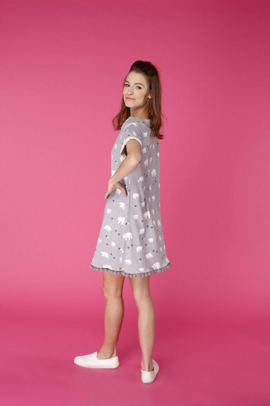 Sukienka trapezowa Dotsy - Arktyczny miś