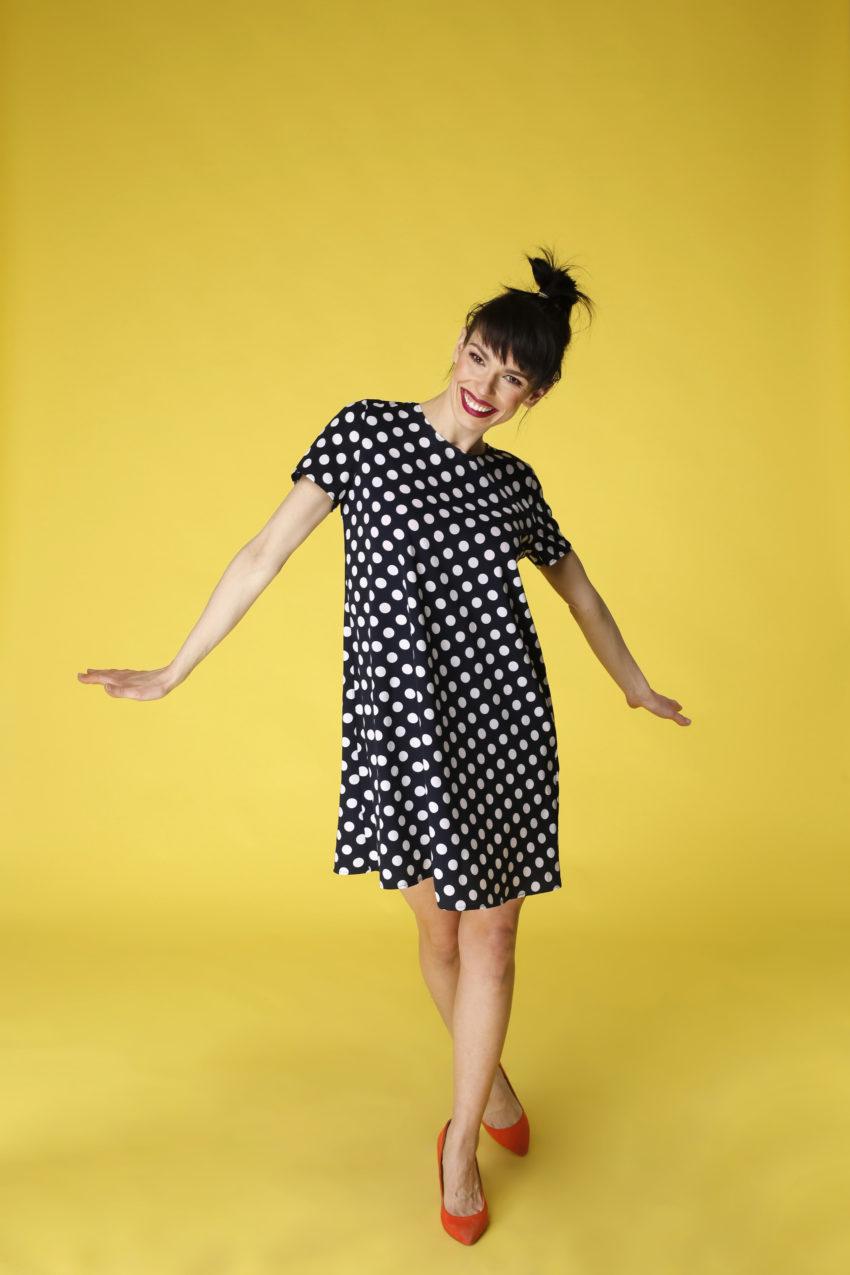 Sukienka trapezowa Dotsy - Czarna biedronka