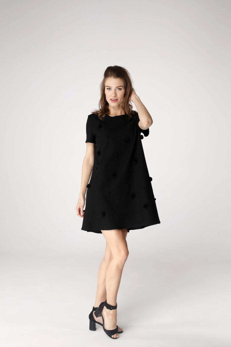 Sukienka trapezowa Dotsy - Czarna borówka