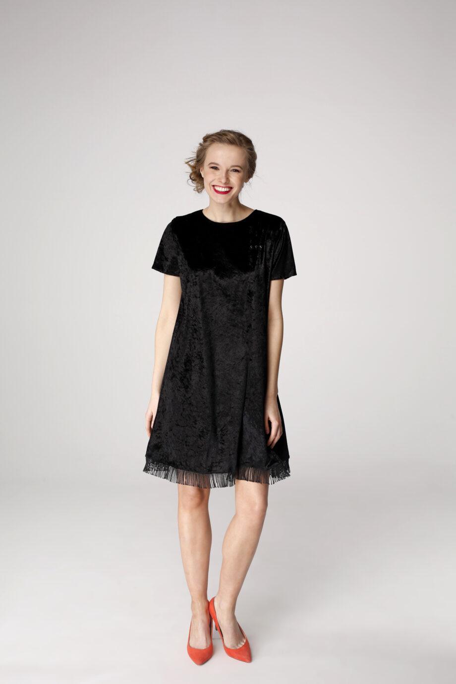 Sukienka trapezowa Dotsy - Czarnoziem z frędzlami