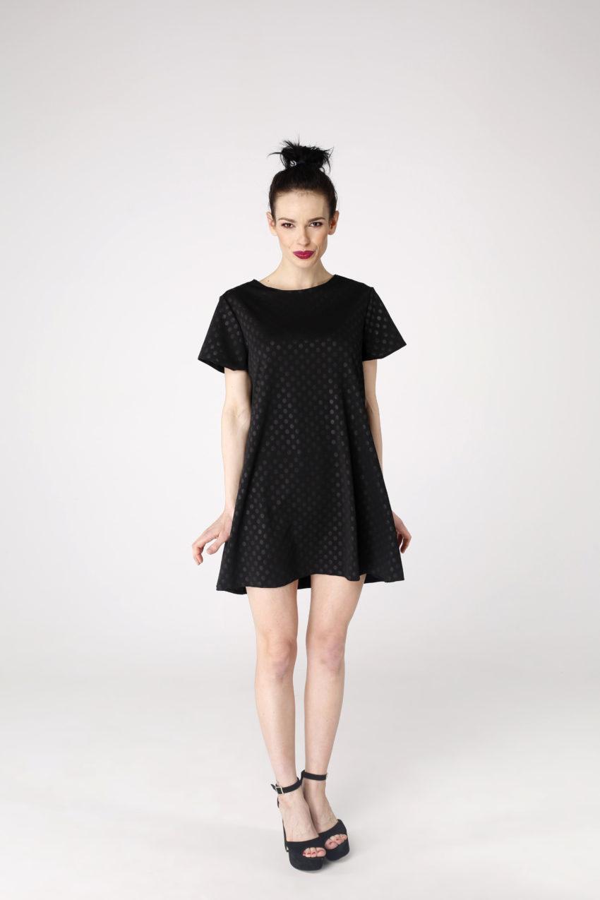 Sukienka trapezowa Dotsy - Czarny wungiel