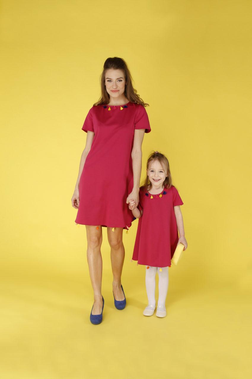 Sukienka trapezowa Dotsy - Mama i córka - Dziewczyny maliny