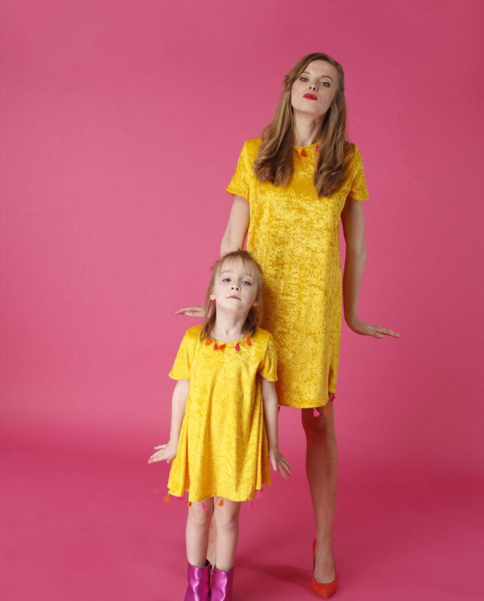 Sukienka trapezowa Dotsy - Mama i córka - Kurczaki dwa
