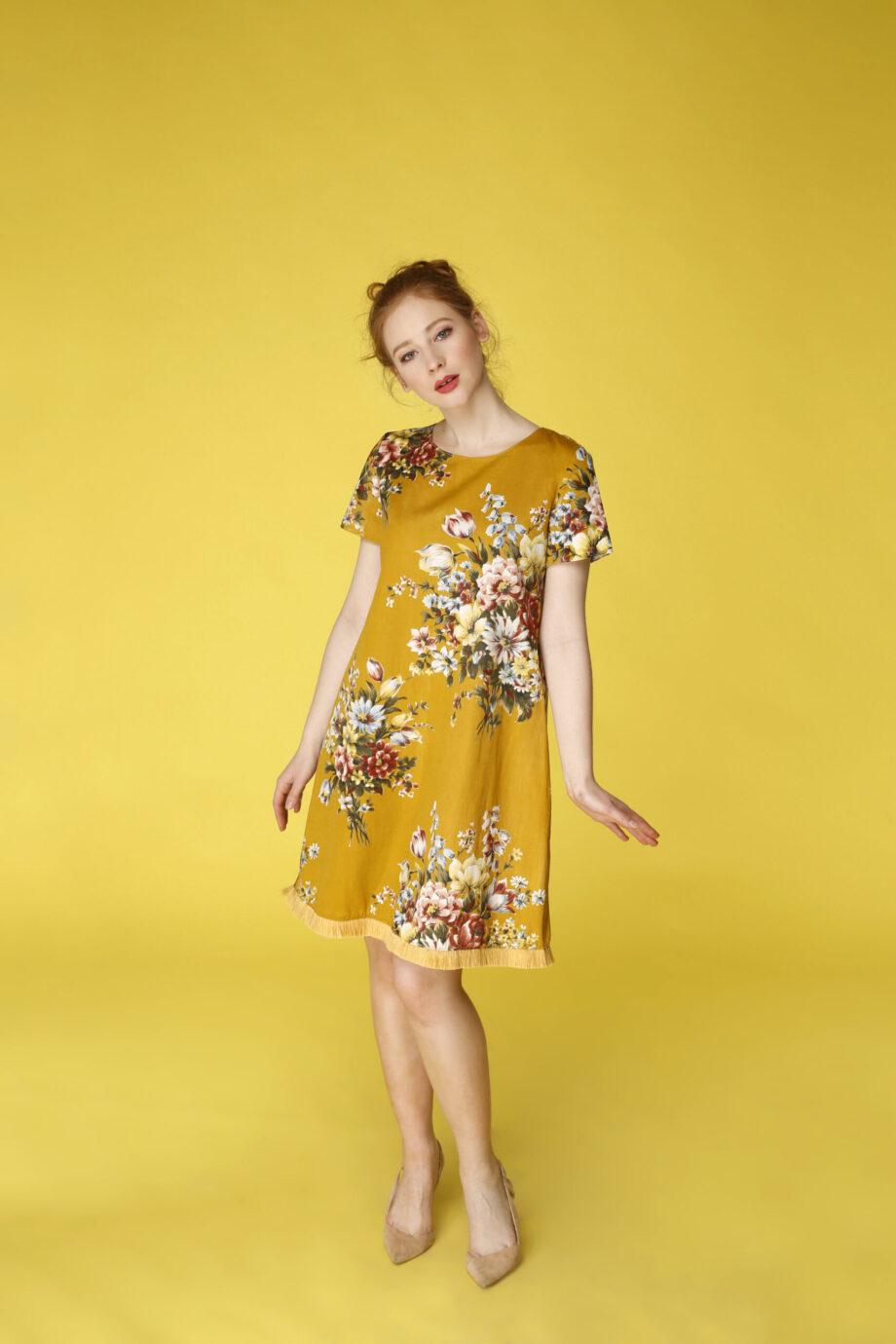 Sukienka trapezowa Dotsy - Kwiat polski