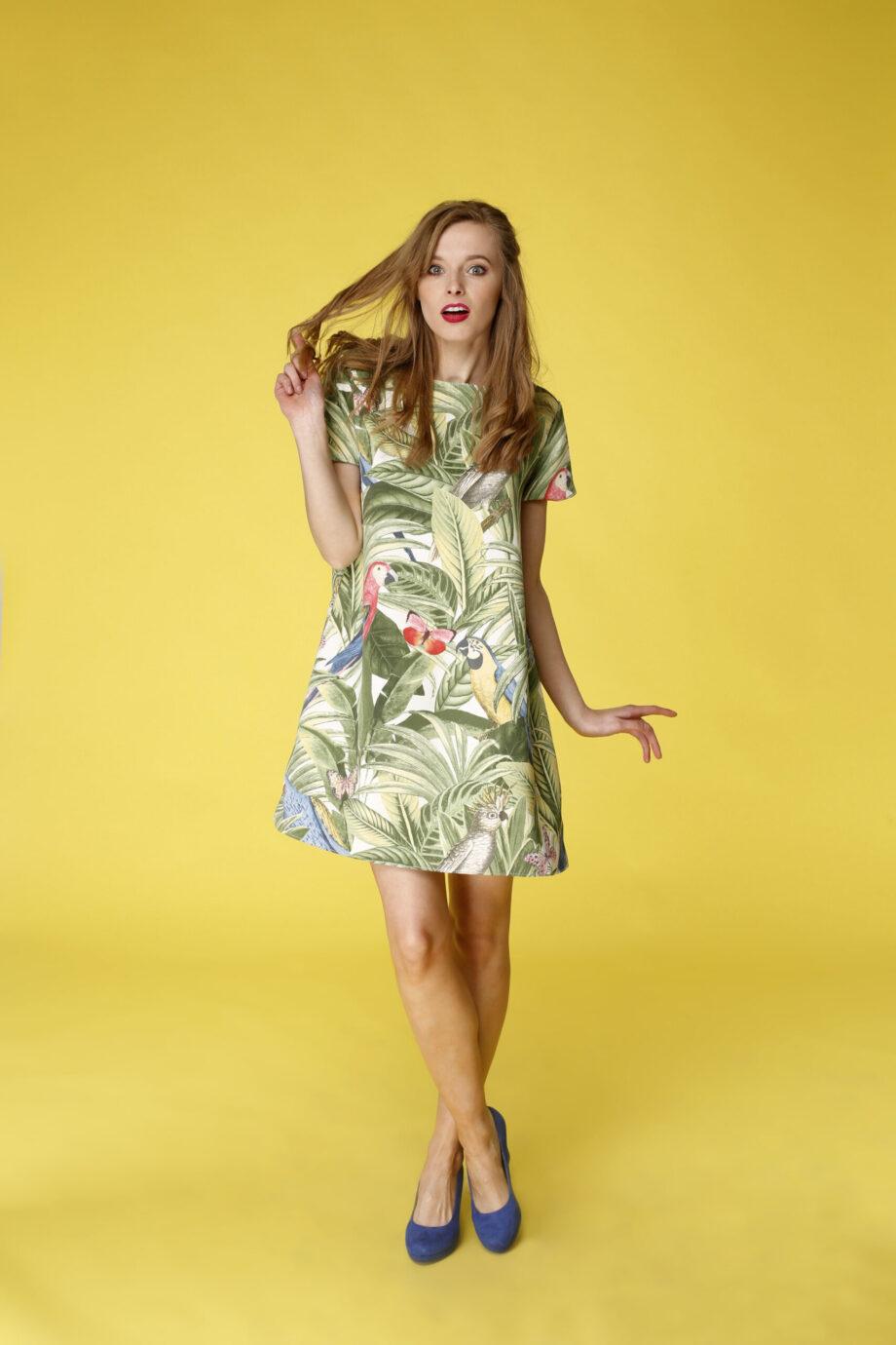 Sukienka trapezowa Dotsy - Las równikowy