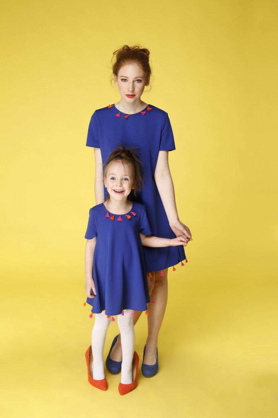 Sukienka trapezowa Dotsy - Mama i córka - Leśne jagody