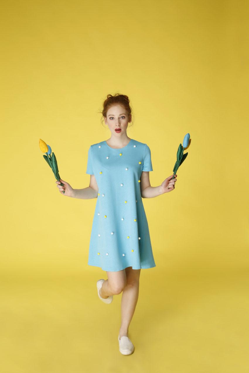 Sukienka trapezowa Dotsy - Lilie wodne