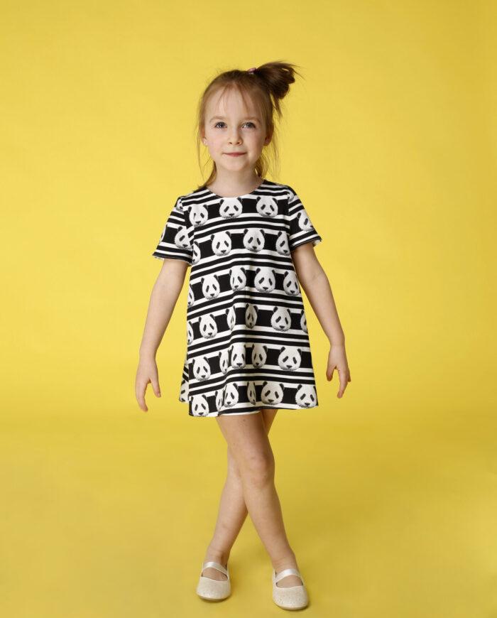 Sukienka trapezowa Dotsy - Mama i córka - Pasiasta panda