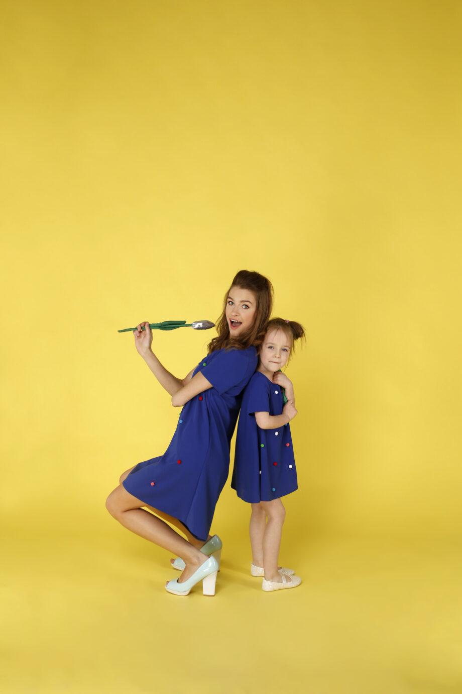 Sukienka trapezowa Dotsy - Mama i córka - Rafa koralowa