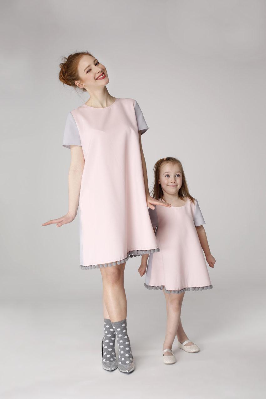 Sukienka trapezowa Dotsy – Mama i córka – Różowa skała