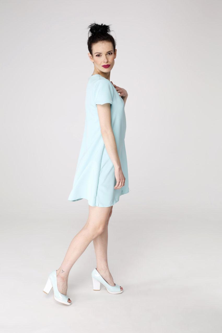 Sukienka trapezowa Dotsy - Sztućce na mięcie