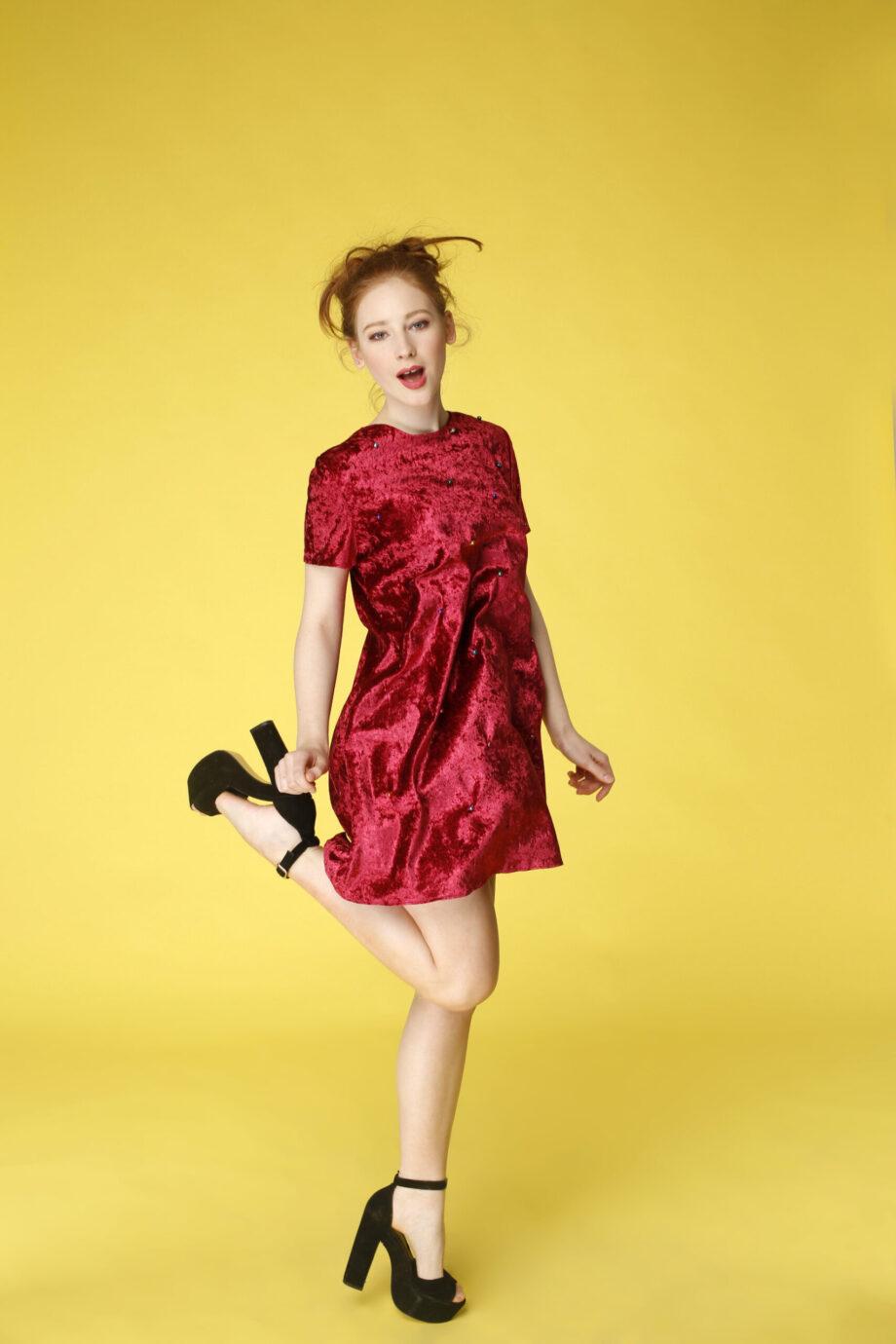Sukienka trapezowa Dotsy - Wystrzałowy granat